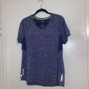 Navy blue and white workout top